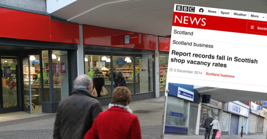 BBC uses old picture of Altrincham to illustrate story about vacant shop units… in Scotland