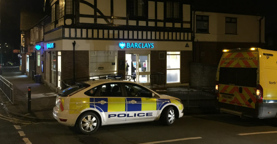 Bank worker attacked with crowbar during attempted armed robbery at Barclays in Timperley