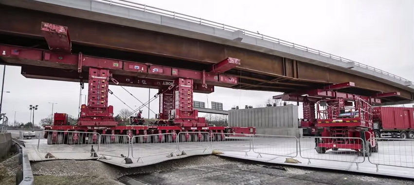 Watch amazing time-lapse video as 1,500-tonne bridge is moved into place on Thorley Lane