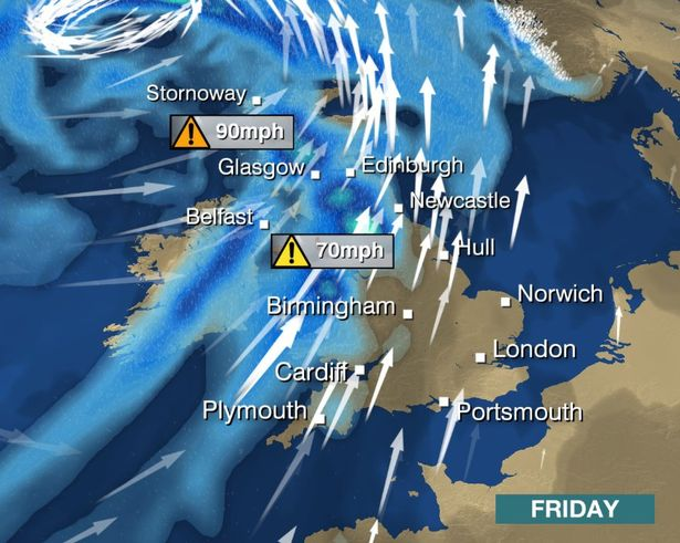 A BBC map showing the expected wind speeds on Friday