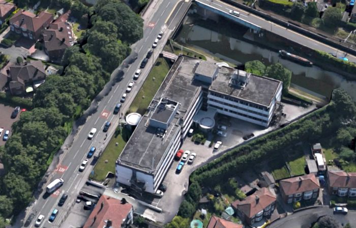 An aerial view of Nelson House, which borders the Bridgewater Canal