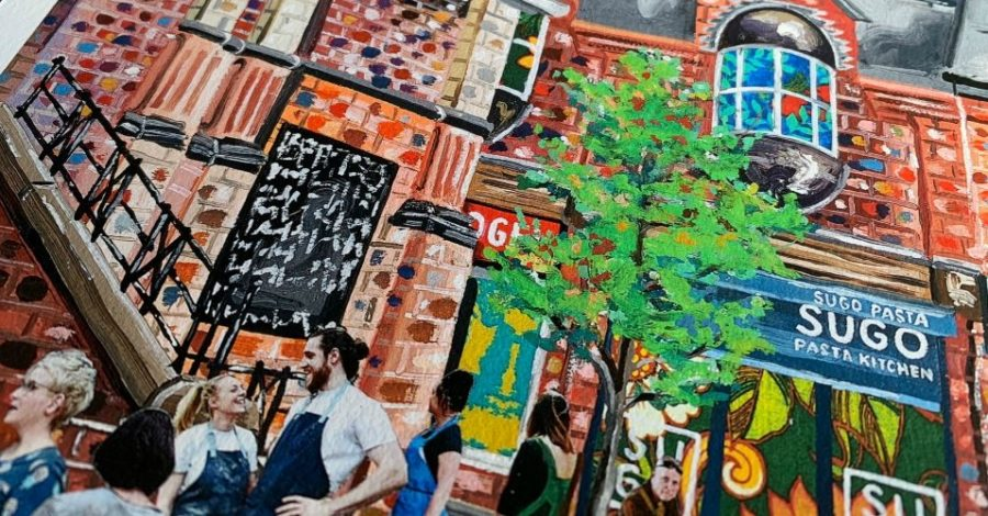 Buy an exclusive Limited Edition print of Altrincham Market and the Market Quarter