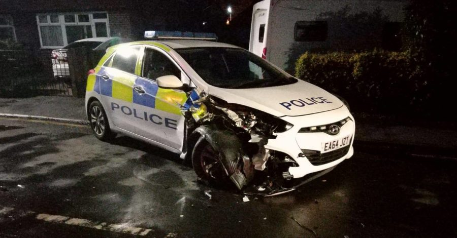 Two police vehicles rammed after offenders steal car from Timperley property