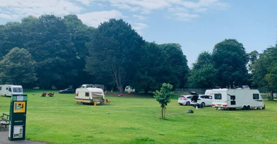 A group of travellers has set up camp in John Leigh Park
