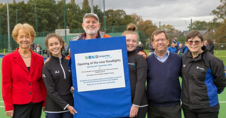 Timperley Sports Club unveils new floodlights after raising £38,000 from members