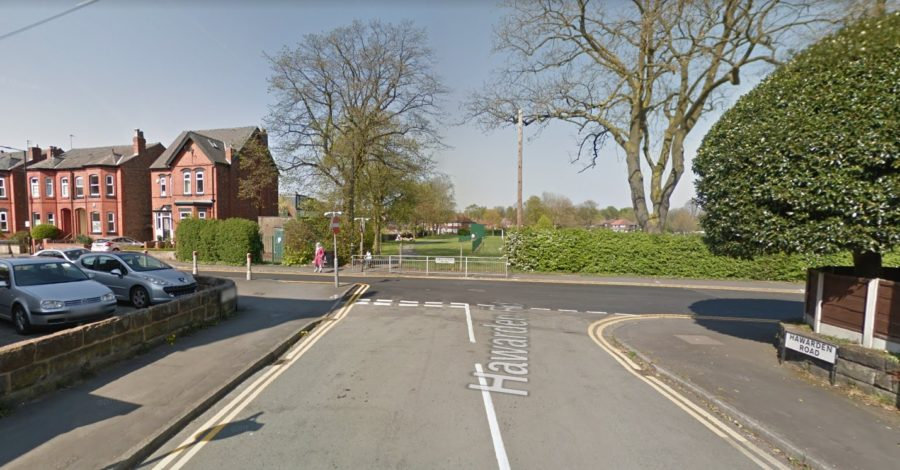Driver arrested as car mounts pavement and hits woman in Altrincham