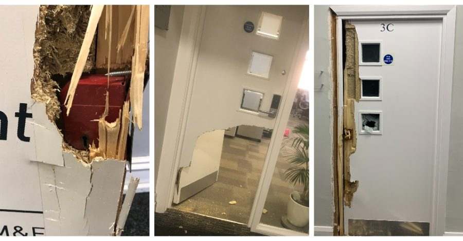 Police investigating after all 11 first-floor businesses are hit during burglary at Timperley village office building