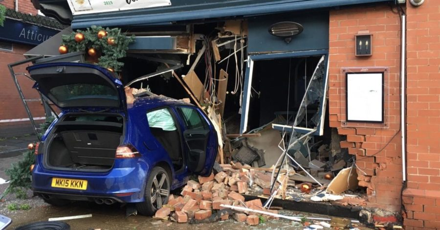 Four arrested after car ploughs into Italian restaurant in Hale after police chase