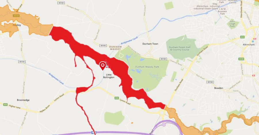 "Flood warning issued for River Bollin area around Dunham Massey with ""flooding of property expected"""