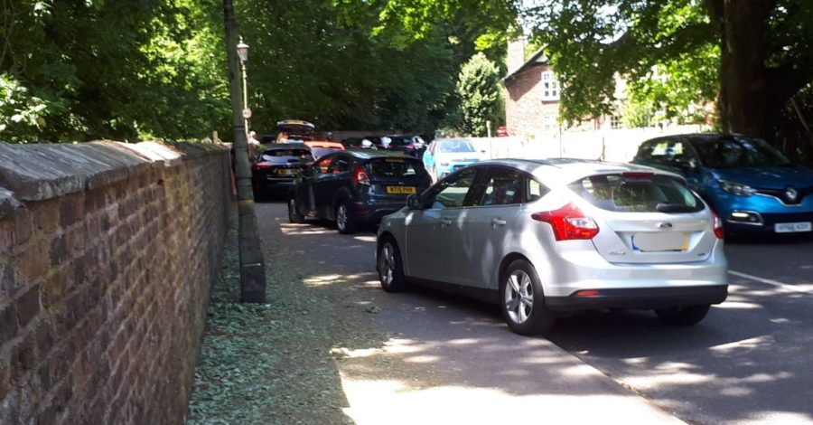 Over 70 fines were issued to drivers parking close to Dunham Massey yesterday