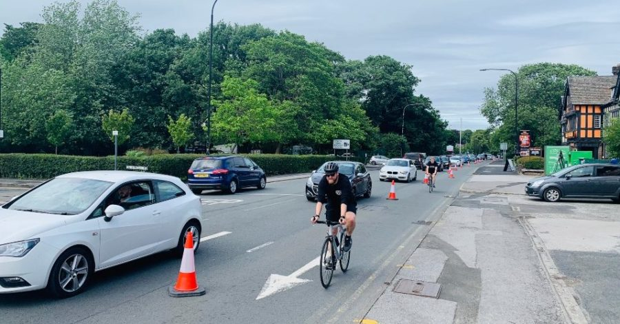 "Drivers' fury as ""poorly conceived"" cycle lane causes long tailbacks on A56 approach to Altrincham"