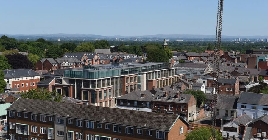 These incredible crane photos give a bird's eye view of Altrincham – and views towards Manchester, the Peaks and Jodrell Bank