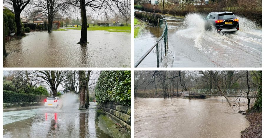 Pictures: Trafford Council issues flood warning as torrential rain from Storm Christoph hits Altrincham
