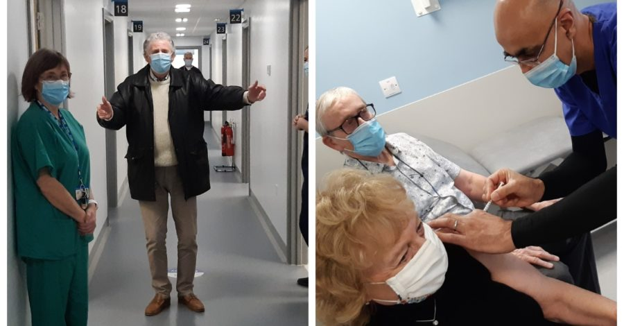 """Inside Altrincham's vaccine hub: Lead GP says roll-out is going """"incredibly well"""" and all over-80s will have had first jab by Saturday"""