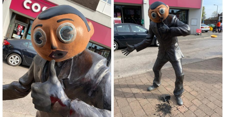 """100% deliberate"" fire damages Frank Sidebottom Statue in Timperley village"