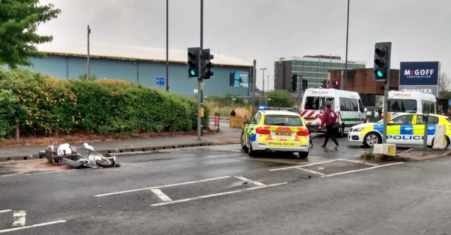 Motorcyclist, 18, arrested after collision with ambulance in Altrincham