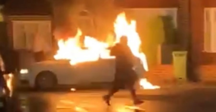 Video: Car destroyed by fire on residential Timperley street