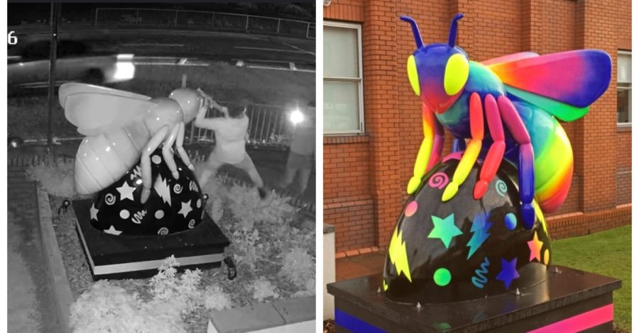 """Exclusive: CCTV footage shows moment Altrincham's iconic Manchester Bee is """"extensively damaged"""" by three males"""