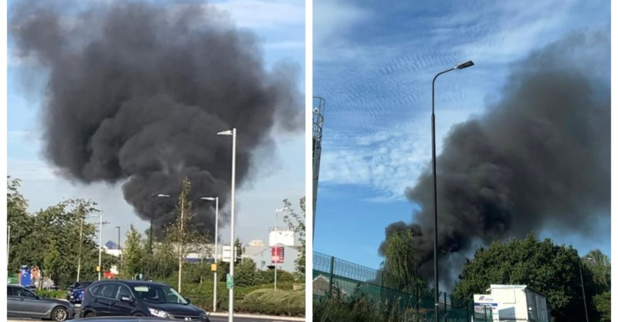"""Large fire at Altrincham electricity substation as local residents report """"loud bang"""" and power cut"""