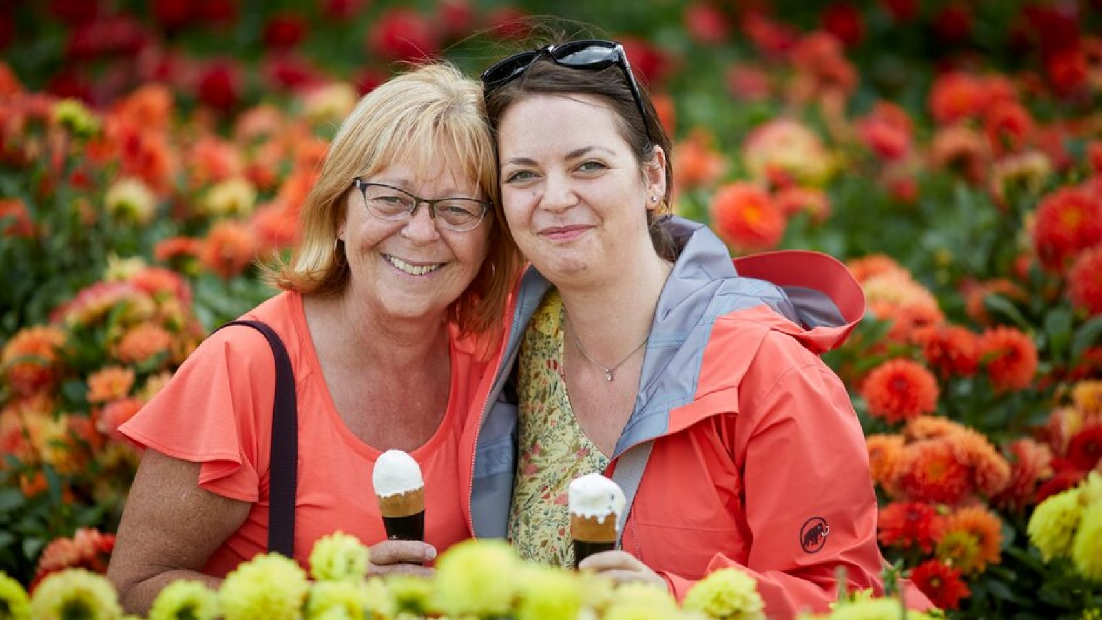 Visitors with ice creams a the RHS Flower Show Tatton Park 2019.