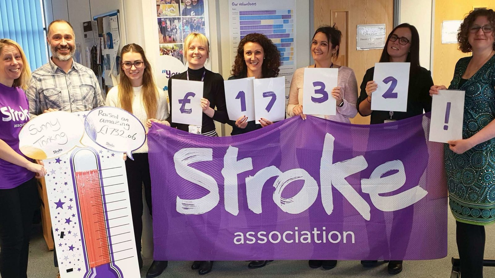 (from left) Siân Thomas from the Stroke Association with Sunny Thinking's Jonathan Reed, Danielle Knibb, Clare Carroll, Rebecca Murray, Rachael Cooper, Rebecca Owen and Helen Gilbertson