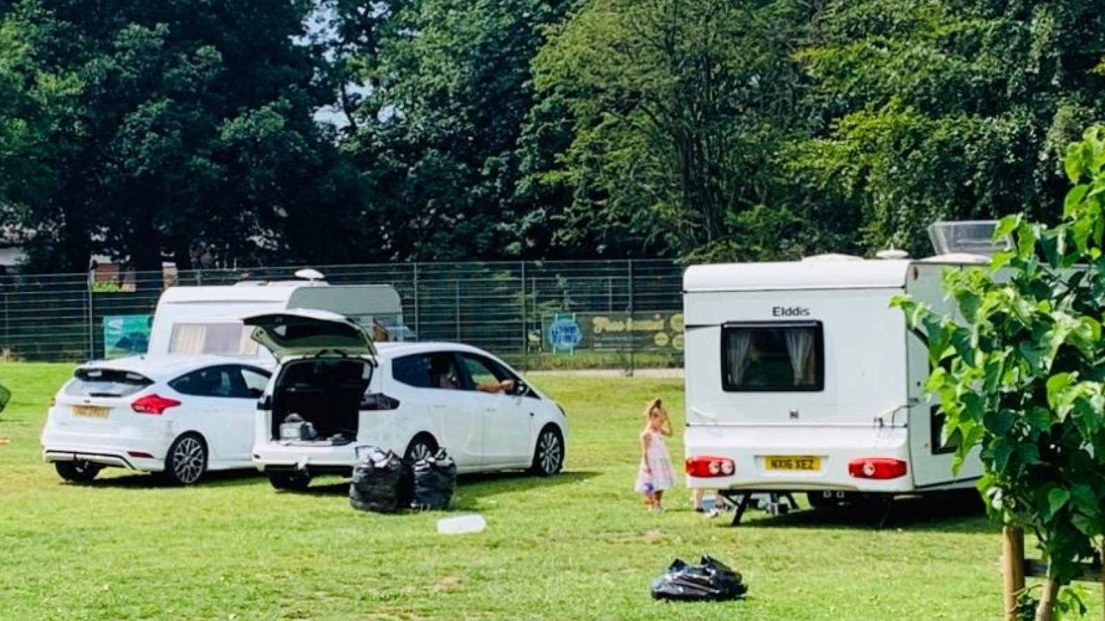Travellers at John Leigh Park this afternoon